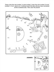 Educational connect the dots picture puzzle and coloring page - letter D, donkey and drum. Answer included.