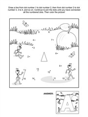 Educational connect the dots picture puzzle and coloring page - letter A, apple and ants. Answer included.