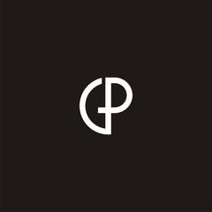 GP Initial Monogram Logo /Single line letttering G & P vector on black background