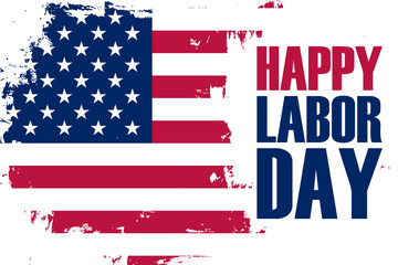 Happy Labor Day holiday banner with brush stroke background in United States national flag colors. Vector illustration.