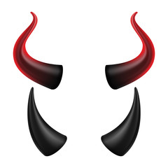 Devil Horns Vector. Halloween Evil Horns Sign, Icon. Isolated On White Background