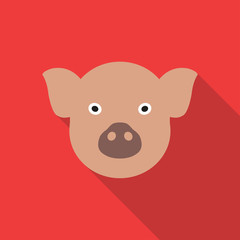 Pig head or face icon. Farm animal symbol. Vector illustration.