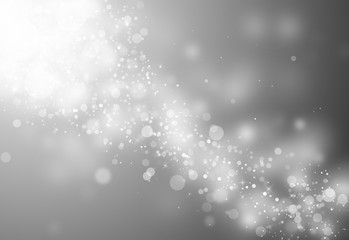 Gray glitter sparkles rays lights bokeh Festive Christmas Elegant abstract background.