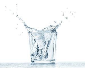 Water glass splashes.