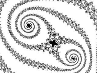 Monochrome, black and white graphics.