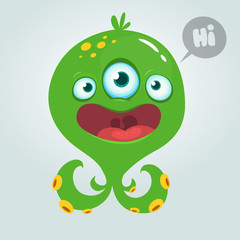 Cute alien monster cartoon. Halloween vector illustration isolated