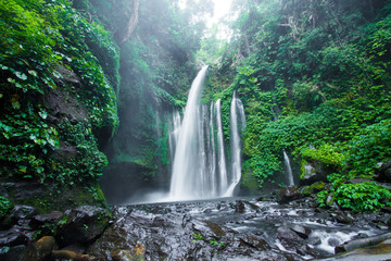 Air Terjun Tiu Kelep waterfall near Rinjani, Senaru, Lombok, Indonesia, Southeast Asia.