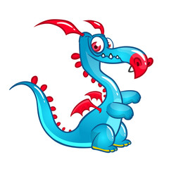 Happy cartoon dragon. Vector illustration