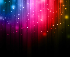 Dark Colorful sparkles rays lights  glitter bokeh Festive Elegant abstract background.