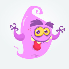 Funny cartoon ghost showing tongue and waving hands. Halloween vector  monster illustration