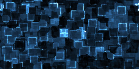 Dark blue seamless Cyber Glow Neon Squares Pattern Background Texture.