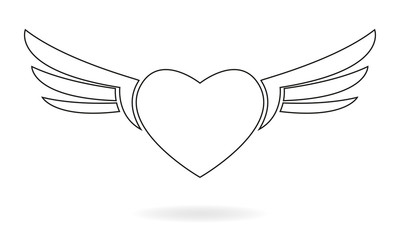 Heart with wings line icon. Winged heart sign isolated on white background. Vector illustration.