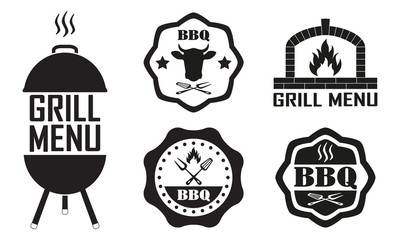 Barbecue label or BBQ stamp with beef emblem isolated on white background. Grill menu design template. Vector illustration.