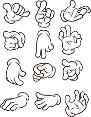 Cartoon hands making different gestures. Vector clip art illustration. Each on a separate layer.