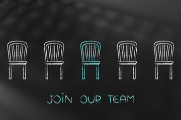 Join ou Team, colorful chair representing a vacancy in the company