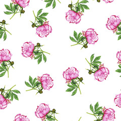 Seamless pattern with pink peony flowers and green leaves on white background. Hand drawn watercolor illustration.
