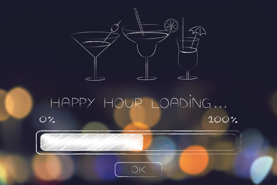 happy hour loading with progress bar