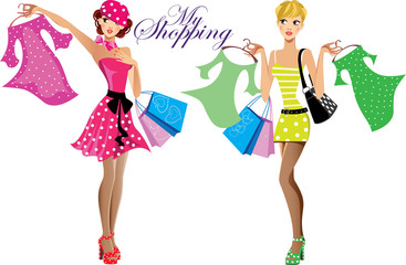 fashion girls, my shopping, two shopping girls with bags, fashionable girls choose dresses