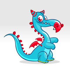 Happy cartoon dragon. Vector illustration of dragon monster with small wings