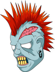 Cartoon Zombie Head. Vector illustration