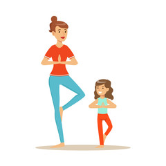 Smiling woman and girl doing yoga in a vrksasana position, mom and daughter having good time together colorful characters