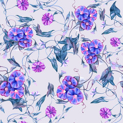 Background curly flower. Seamless pattern.