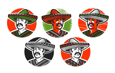 Mexican in sombrero logo or label. Cartoon vector illustration
