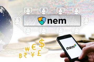 Concept of  NEM Coin, a Cryptocurrency blockchain platform , Digital money symbol XEM