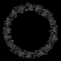 Round frame. . Olive tree as a symbol of eternal peace in Christian religion. Vector design.