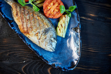 Grilled Fish dish - roasted fish and vegetables jpg