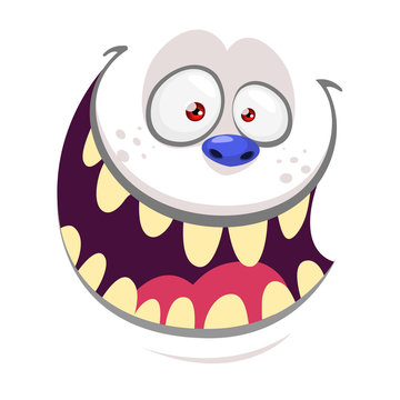 Cartoon monster face isolated . Vector Halloween pink happy monster  gremlin square avatar. Design for t-shirt, sticker, print or party invitation