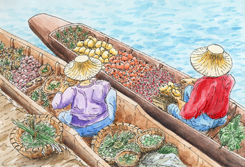 Thai traditional floating market. Two persons selling fruit and vegetables from a boats.