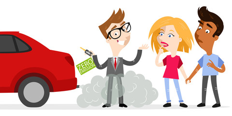 Vector illustration of confident cartoon salesman holding car keys labeled zero emission whilst standing in exhaust gases with skeptical customers looking at fumes