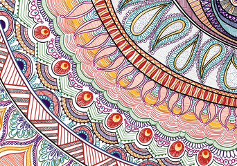 Hand-drawn tribal paysley pattern, mandala style. White and bright colors