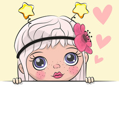 Greeting card cute Cartoon Girl