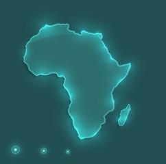 Africa map light neon vector