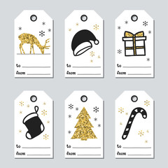 Christmas and New Year gift tags. Cards xmas gold set. Hand drawn element. Collection of holiday paper label in black and white. Seasonal badge sale design. Golden texture. Print. Vector illustration.