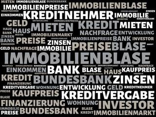 IMMOBILIENBLASE - Bilder mit Wörtern aus dem Bereich Immobilienblase, Wort, Bild, Illustration
