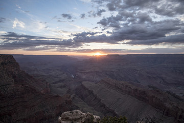 High angle view of Grand Canyon against cloudy sky