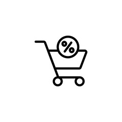 cart trolley sale  black line icons set