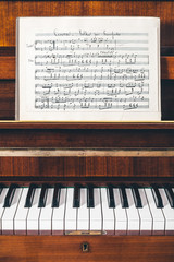 19th Century Handwritten Musical Score on Piano