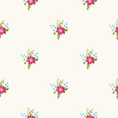 Elegant gentle trendy pattern in small-scale flower. Millefleurs. Liberty style. Floral seamless background for textile, cotton fabric, covers, manufacturing, wallpapers, print, gift wrap and scrapboo
