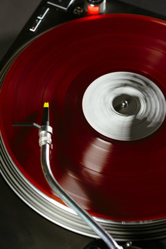 Record playing on gramophone