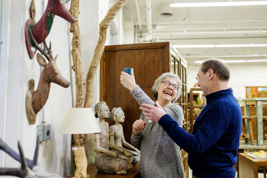 Senior couple shopping at a furniture store
