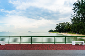 View of Bedok Jetty Singapore reaching into the sea