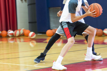 One on one basketball at camp