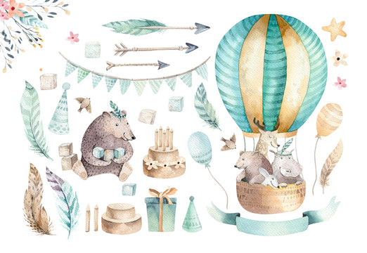 Cute baby nursery on balloon isolated illustration for children. Bohemian watercolor bohemian bear, cat hipo and deer drawing, watercolour image.