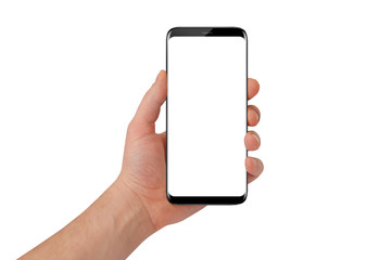 Modern black phone with rounded edges in man hand. White screen for mockup, isolated on white background