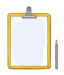 Yellow Clipboard with blank paper and a pencil hand drawn vector art illustration
