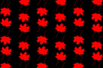 Maple leaf - vector black and red pattern
